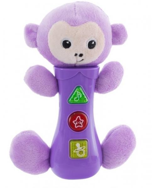 Euro Baby Hračka se zvuky na baterie pro nejmenší - opička, fialová