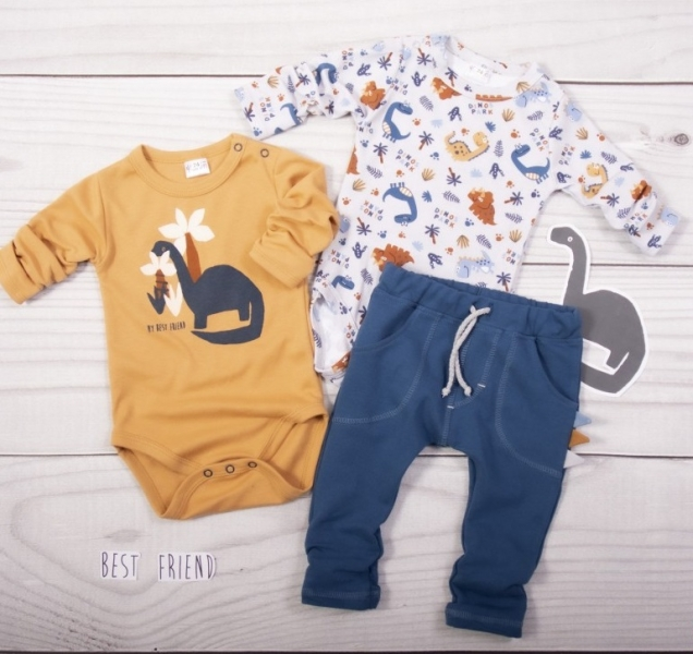 K-Baby 3 dílná sada - 2x body dl. rukáv, tepláčky - Dinosaurus, modrá-hnědá-bílá, vel. 80