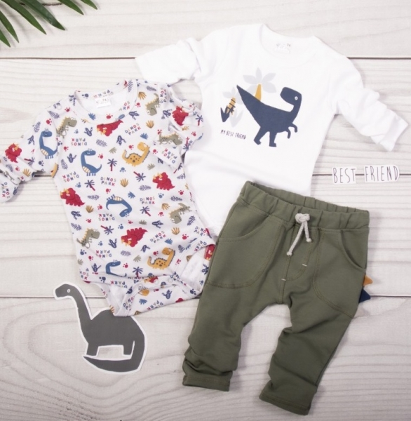 K-Baby 3 dílná sada - 2x body dlouhý rukáv, tepláčky - Dinosaurus, khaki-bílá