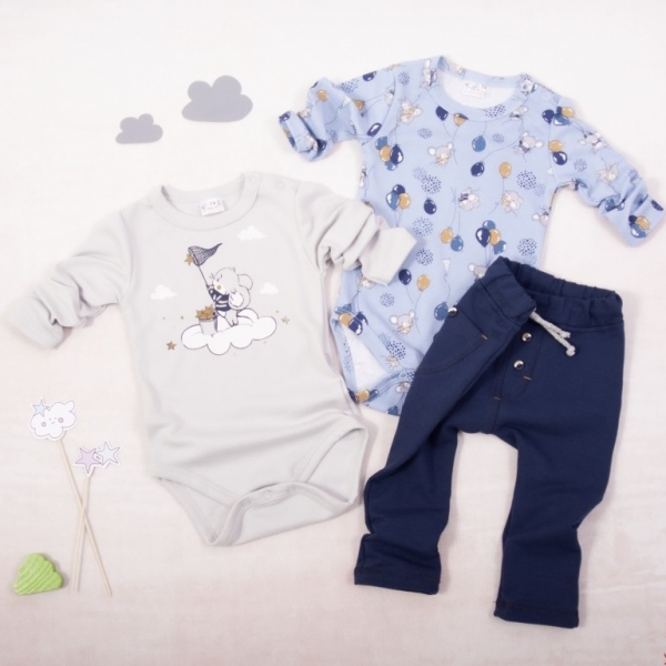 K-Baby 3 dílná sada - 2x body dlouhý rukáv, tepláčky - Myšák, šedá-sv.modrá-modrá, vel. 80