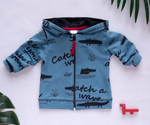 K-Baby Dětská mikina s kapucí, Krokodýl - tm. modrá