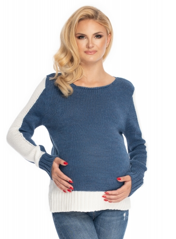 Be MaaMaa Těhotenský svetr - jeans/bílá