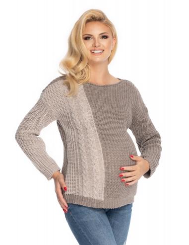 Be MaaMaa Těhotenský svetr, pletený vzor - cappuccino/šedá