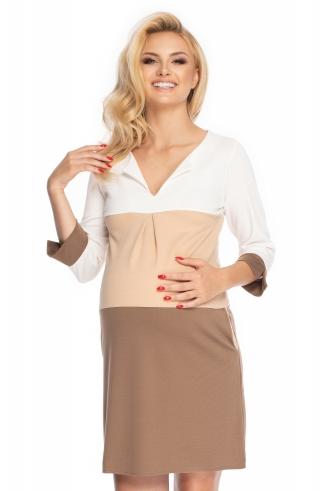 Be MaaMaa Těhotenské šaty se širokými pruhy, 3/4 rukáv - cappuccino, vel. L/XL