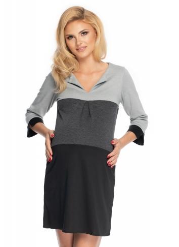 Be MaaMaa Těhotenské šaty se širokými pruhy, 3/4 rukáv - černá/šedá, vel. L/XL