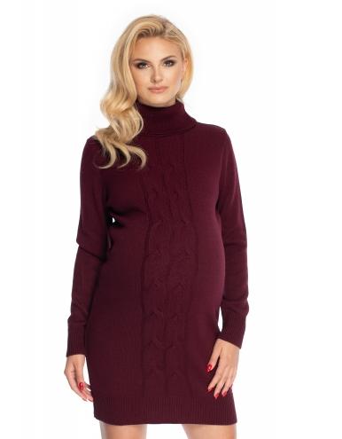 Be MaaMaa Dlouhý těhotenský svetr,šaty pletený vzor - bordo