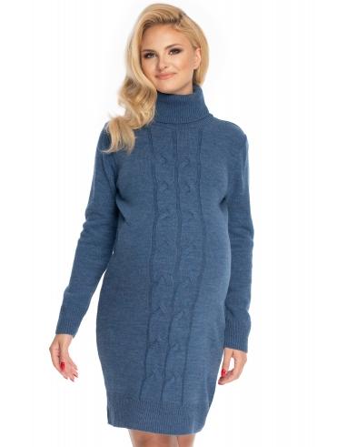 Be MaaMaa Dlouhý těhotenský svetr,šaty pletený vzor - jeans