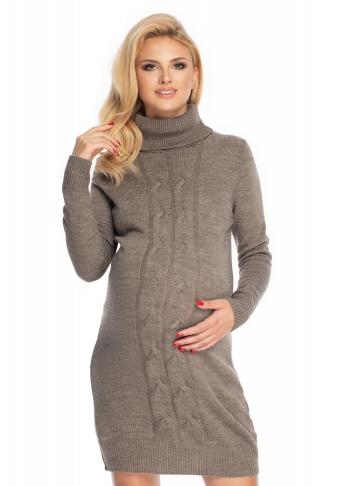 Be MaaMaa Dlouhý těhotenský svetr,šaty pletený vzor - cappuccino
