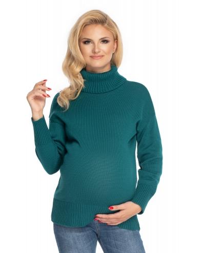 Be MaaMaa Těhotenský svetr, rolák - zelený