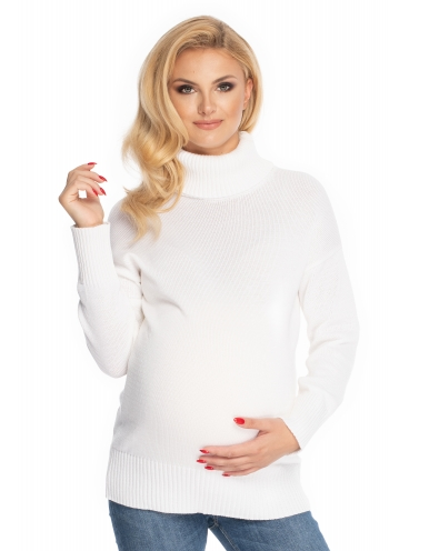 Be MaaMaa Těhotenský svetr, rolák - bílý