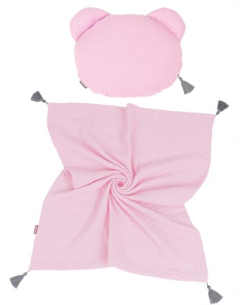 Mamo Tato Mušelinová sada polštářek Teddy Lux double s dekou 70x90cm - světle růžová