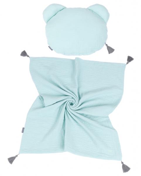 Mamo Tato Mušelinová sada polštářek Teddy Lux double s dekou 70x90cm - mátová