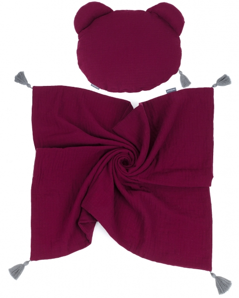 Mamo Tato Mušelinová sada polštářek Teddy Lux double s dekou 70x90cm - bordo
