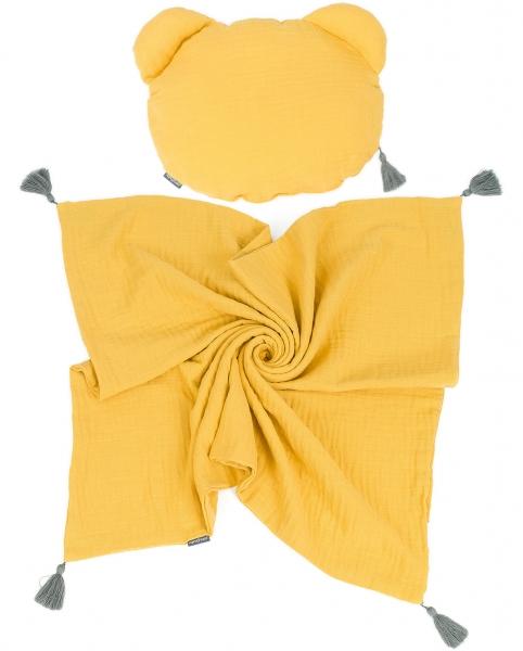 Mamo Tato Mušelinová sada polštářek Teddy Lux double s dekou 70x90cm - hořčicová