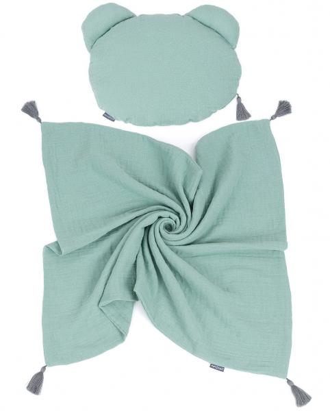 Mamo Tato Mušelinová sada polštářek Teddy Lux double s dekou 70x90cm - zelená
