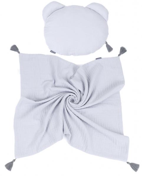 Mamo Tato Mušelinová sada polštářek Teddy Lux double s dekou 70x90cm - světle šedá