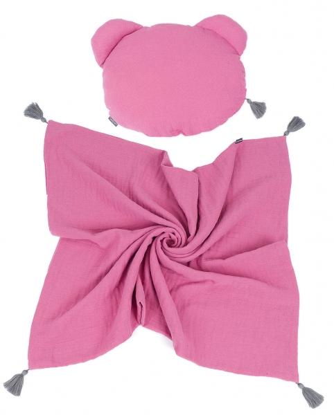 Mamo Tato Mušelinová sada polštářek Teddy Lux double s dekou 70x90cm - starorůžová