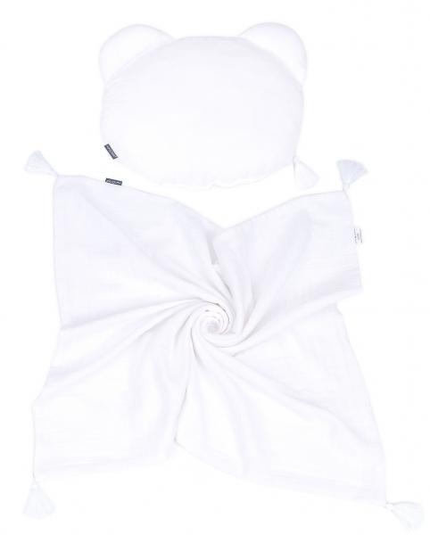 Mamo Tato Mušelinová sada polštářek Teddy Lux double s dekou 70x90cm - bílá