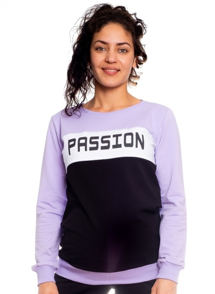 Be MaaMaa Těhotenská, kojící mikina Passion, lila-černá-bílá, vel. M, Velikost: M (38)