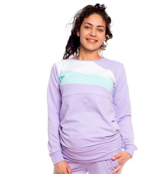 Be MaaMaa Těhotenská, kojící mikina Viola, lila-mátová-bílá, vel. XL