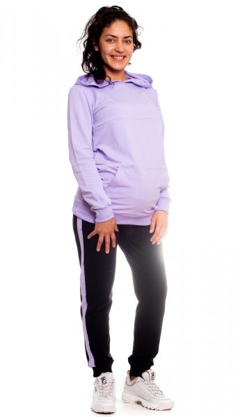 Be MaaMaa Těhotenské tepláky s lampasy - černé, vel. XL