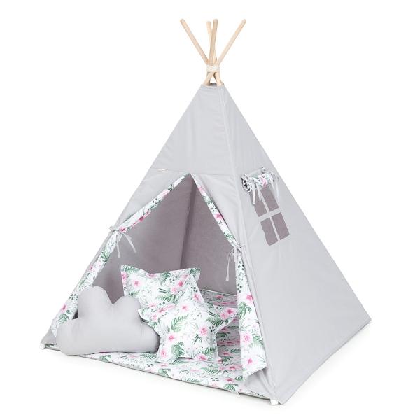 Mamo Tato Stan pro děti teepee, týpí s výbavou - šedý / růžová zahrada