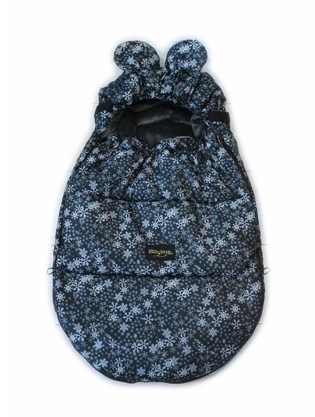 Baby Nellys nepromokavý fusak s oušky MIKI, fleece Velvet 90 x 50 cm - černá s hvězdami