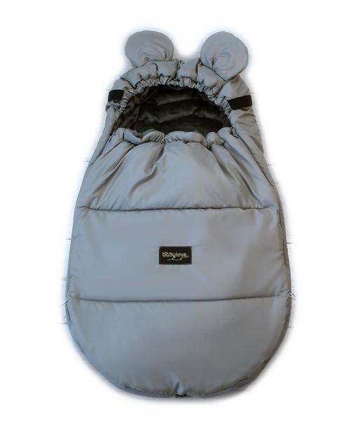 Baby Nellys nepromokavý fusak s oušky MIKI, fleece Velvet 90 x 50 cm - šedá