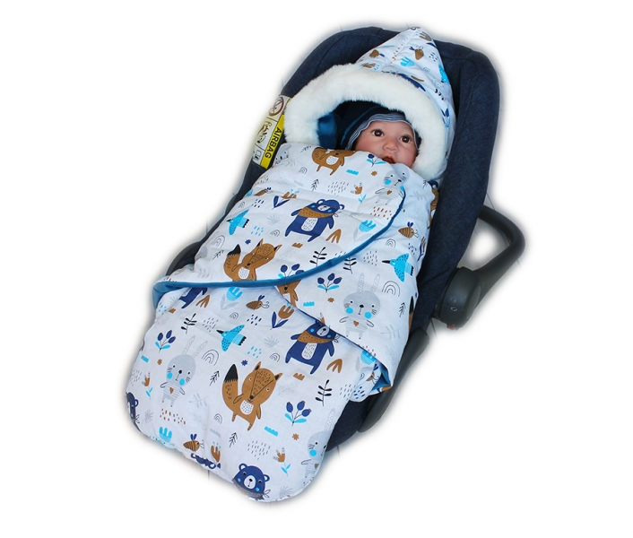 Baby Nellys zavinovací fusak s kožešinkou Velvet, Skřítek, délka 85 cm - Lesní zvířátka
