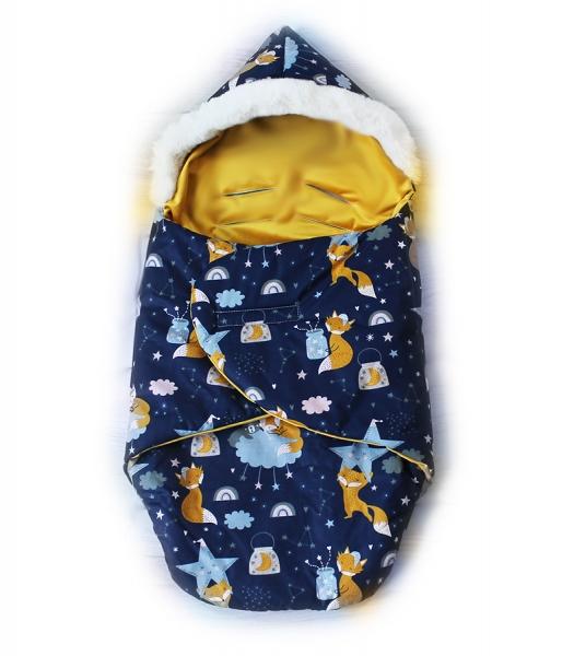 Baby Nellys zavinovací fusak s kožešinkou Velvet Skřítek, délka 85 cm-liška a noční obloha
