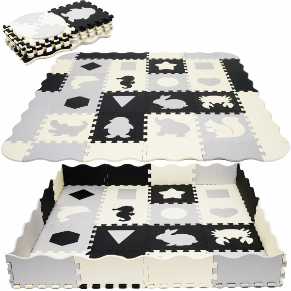 TULIMI Dětské pěnové puzzle 143x143cm, hrací deka, podložka na zem - zvířátka, tvary