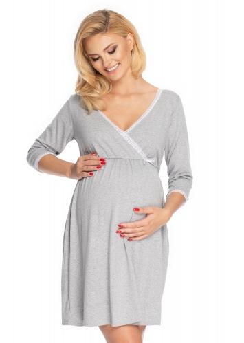 Be MaaMaa Těhotenská, kojící noční košile s krajkou, 3/4 rukáv - šedá, vel. L/XL
