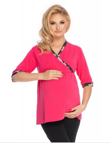 Be MaaMaa Těhotenské, kojící pyžamo 3/4 rukáv - růžová,černá, vel. L/XL