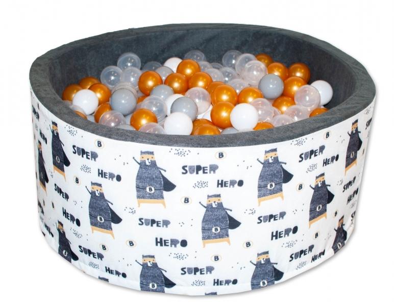 NELLYS Bazén pro děti 90x40cm - Super Hero, krémovo-šedý s balónky
