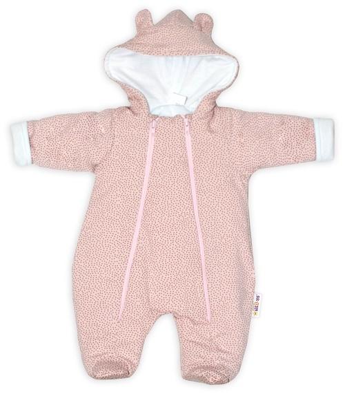 Baby Nellys ® Kombinézka s dvojitým zapínáním, s kapucí a oušky, Puntíky - růžová, vel. 74