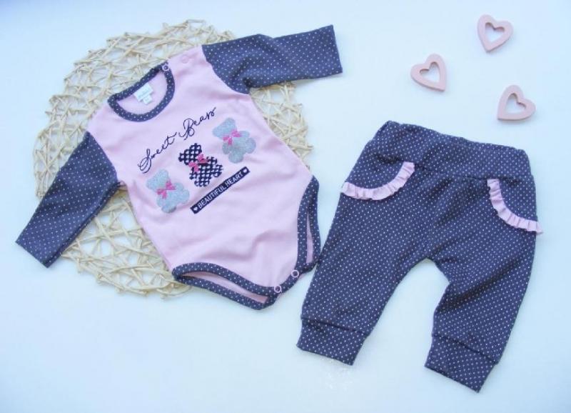 G-baby 2-dílná kojenecká sada Medvídci, růžovo-šedá