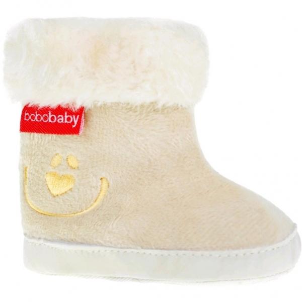 Zimní capačky/botičky BOBO BABY s kožíškem  - Méďa - ecru