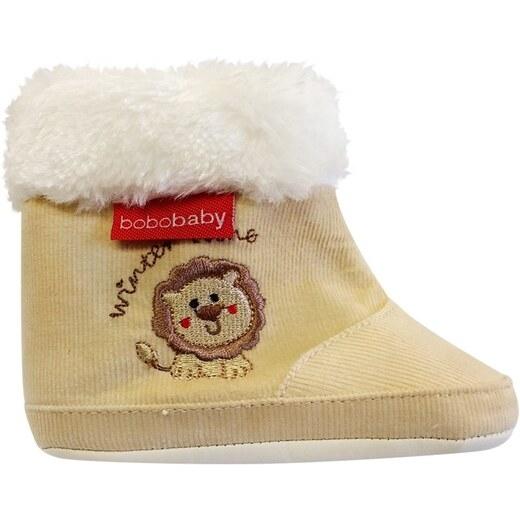 Manšestrové  zimní capačky/botičky BOBO BABY s kožíškem - Lvíček - ecru, Velikost: 3/6měsíců