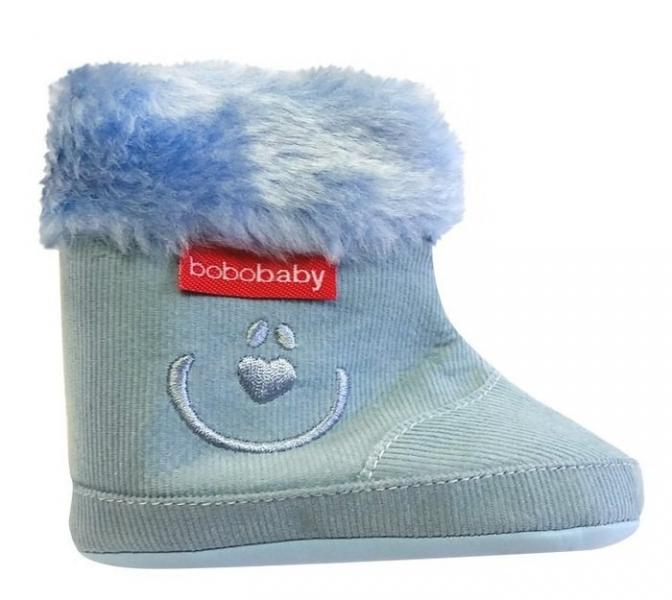 Manšestrové  zimní capačky/botičky BOBO BABY s kožíškem - Medvídek - modré