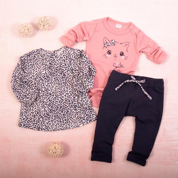 K-Baby 3 dílná sada - 1x body dlouhý rukáv, tunika, legíny, Gepardík - grafit, pudrová, Velikost: 62 (2-3m)