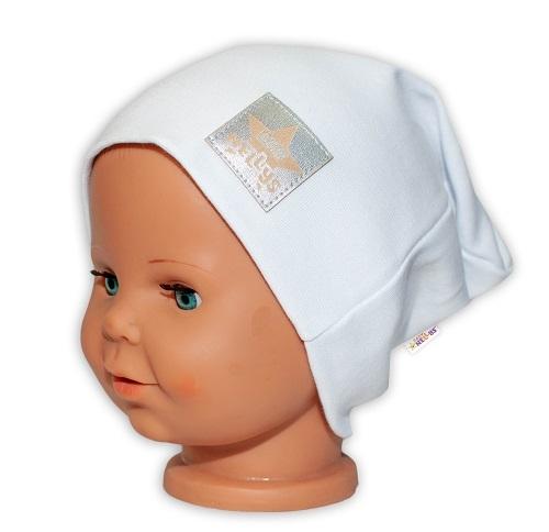 Baby Nellys Hand Made Dětská funkční čepice s dvojitým lemem - bílá, obvod: 52-54cm, Velikost: 52/54 čepička obvod