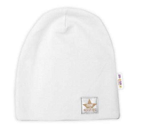 Baby Nellys Hand Made Dětská funkční čepice s dvojitým lemem - bílá, obvod: 52-54cm