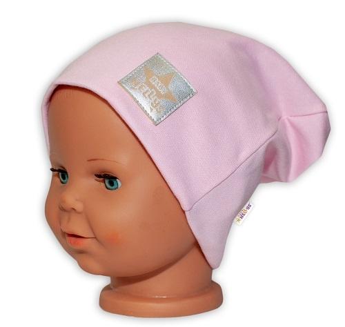 Baby Nellys Hand Made Dětská funkční čepice s dvojitým lemem - sv. růžová, obvod: 52-54cm