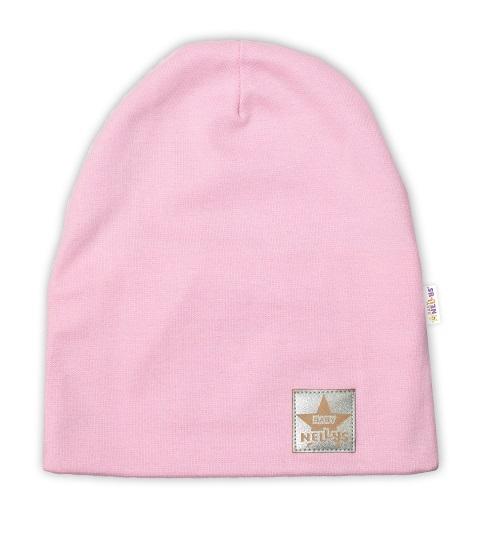 Baby Nellys Hand Made Dětská funkční čepice s dvojitým lemem - sv. růžová, vel. 110