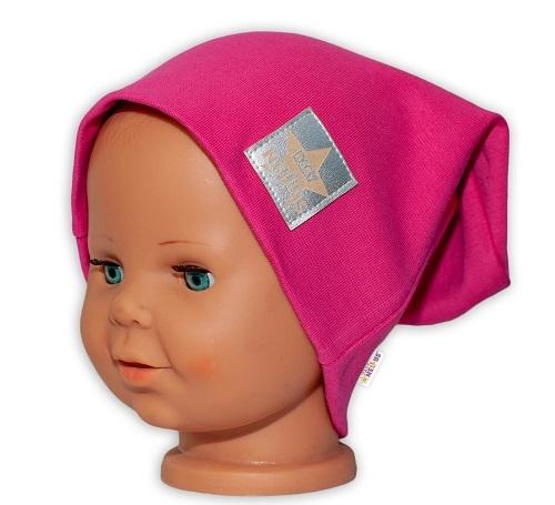 Baby Nellys Hand Made Dětská funkční čepice s dvojitým lemem - tm. růžová, Velikost: 48/50 čepičky obvod