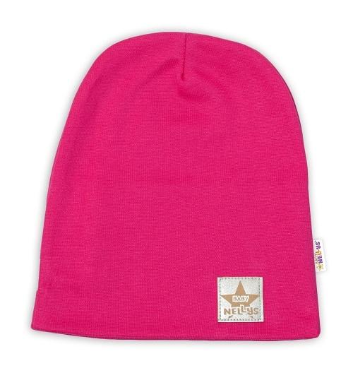 Baby Nellys Hand Made Dětská funkční čepice s dvojitým lemem - tm. růžová, obvod: 52-54cm