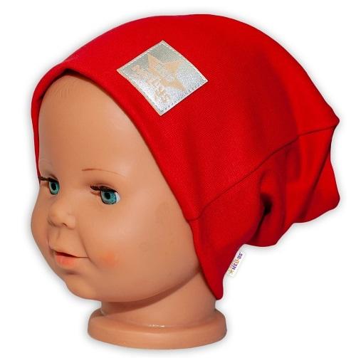 Baby Nellys Hand Made Dětská funkční čepice s dvojitým lemem - červená, obvod: 52-54cm, Velikost: 52/54 čepička obvod