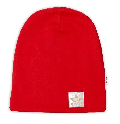 Baby Nellys Hand Made Dětská funkční čepice s dvojitým lemem - červená, obvod: 52-54cm