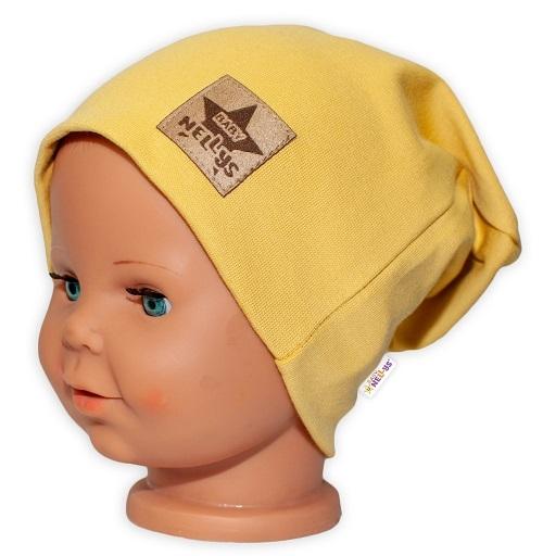 Baby Nellys Hand Made Dětská funkční čepice s dvojitým lemem - hořčicová, obvod: 52-54cm, Velikost: 52/54 čepička obvod