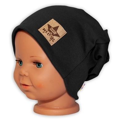 Baby Nellys Hand Made Dětská funkční čepice s dvojitým lemem - černá, obvod: 52-54cm